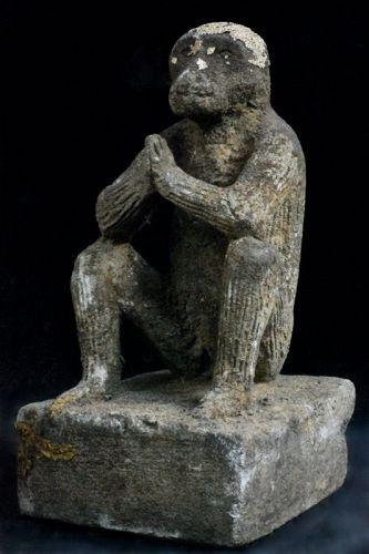 Stone Seated Monkey Sarugami Shinto Late-Edo 19 c.