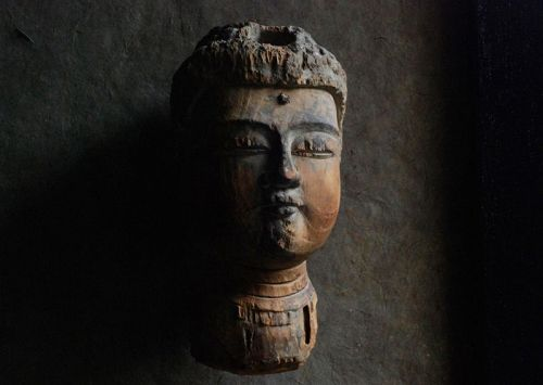 Wooden Head Fragment of a Buddha Butto Kamakura Period 13 c.