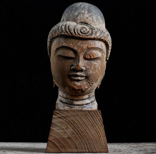 Wooden Buddha Head Fragment Butto Kebutsu Kamakura Period 13/14 c.