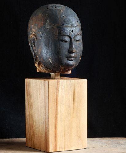 Wooden Jizo Bosatsu Head Fragment Heian Period ca. 1100