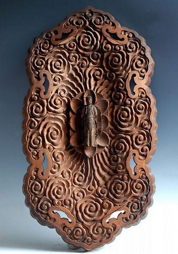 Wooden Tengai with Standing Kannon Bosatsu Edo Period