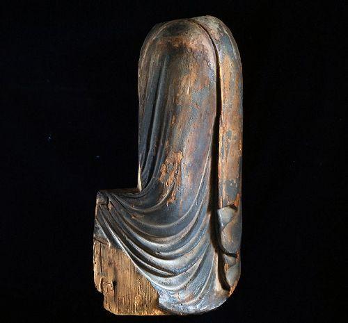 Wooden Fragment of a Seated Buddha Kamakura Period ca. 1300