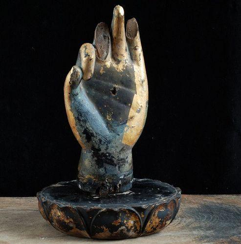 GIlt-Wood Hand Fragment (Busshu) of a Bosatsu Kamakura Period 13 c.