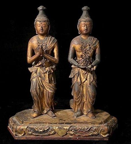 GIlt-Wood Kannon Bosatsu and Seishi Bosatsu Mid-Edo Period ca. 1700