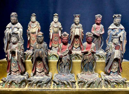 11 Standing Devas in Polychromed Wood Early-Edo Period