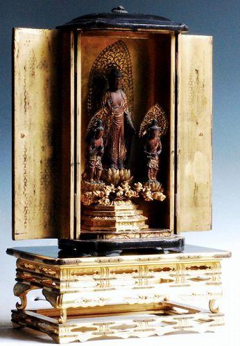 Wooden Amida Buddha Triad Kannon and Seishi Bosatsu Zushi mid-Edo