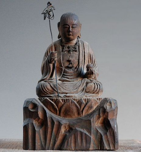Jizo Bosatsu Bodhisattva Wooden Sculpture Late-Edo Period