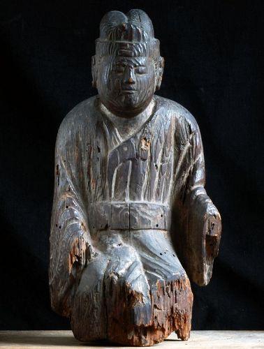 Wooden Male Shinto God Shinzo Kamakura/Nanbokucho 14 c.