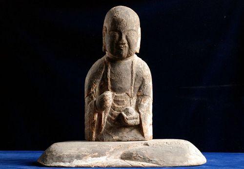 Wooden Jizo Bosatsu Ju-O King of Hell Muromachi Period ca. 1500