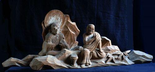 Pair of Wooden Rakan Arhat Early-Edo Period ca. 1650
