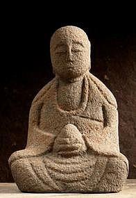 Stone Jizo Garden Statue Edo Buddha Bodhisattva Japan