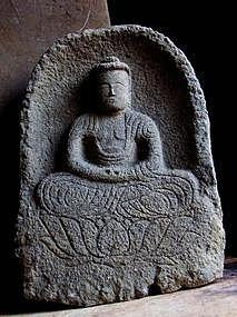 Stone Amida Buddha Muromachi 15/16th c.