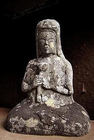 Stone figurative Sho-Kannon Bosatsu bodhisattva Edo
