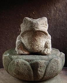 Granite Frog Sandstone Lotus Dais Jizo Edo 19 c.