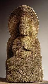 Stone Dai-Nichi Nyorai Buddha Vairocana Edo 18/19c.