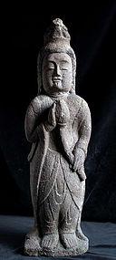 Stone Kannon Bosatsu Bodhisattva Jizo Edo 18th c.