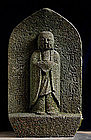 Stone Jizo Bodhisattva Buddha Kannon Zen Edo 18 c.