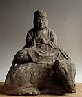 Stone Ushi-nori Dai-Nichi Buddha on a Cow Edo 19 c.