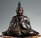 Seated Male Shinto god Shinzo wooden sculpture Edo 17c