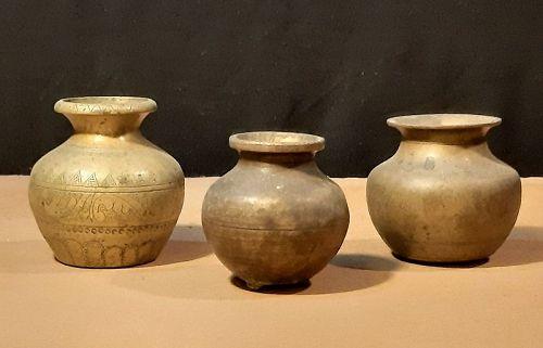 Pots Brass Set of 3 Small Antique Sri Lanka - Glenn Erso Collection