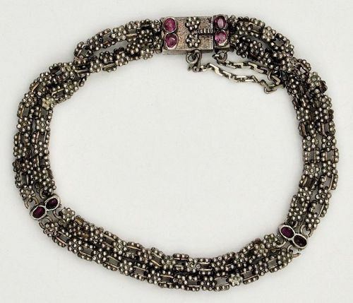 Bracelet Link w/ Semi Precious Stones Silver Antique Sri Lanka Ceylon