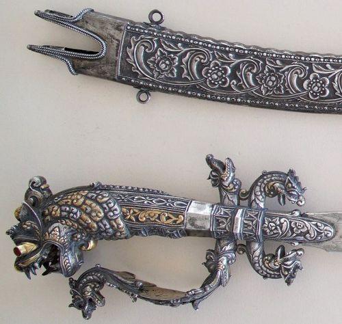 "Sword ""Kasthane"" & Scabbard Silver Antique Sri Lanka Ceylon"