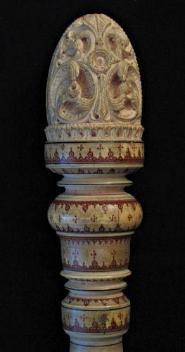 Fan Handle Inlayed Lacquer Sri Lanka Ceylon Antique