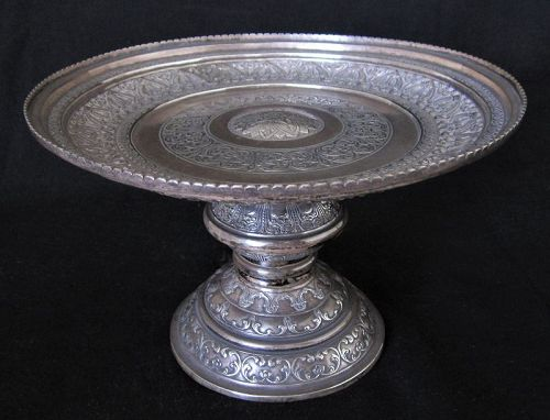 "Tray Repousse Silver ""Tazza"" Standing  Antique Sri Lanka Ceylon"