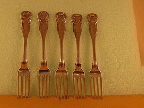 5 Dinner forks by Curry&Preston, Phila, circa 1830
