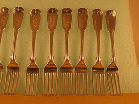 8 Dinner forks marked W.V.Brady, NY, circa 1840's