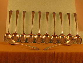 12 Dessert spoons by Isaac Hutton, Albany, circa 1790's
