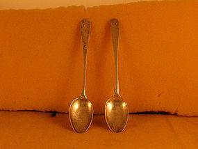 Pr. teaspoons by F. Hinckley,Barnstable,MA c.1790's