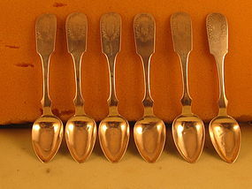 6 Teaspoons by P.Fries, Phila, ,circa 1840's