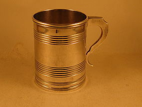 Reeded mug by Curry & Preston, Phila., 1825-1831