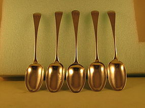 5 Tablespoons by Joseph&Nathaniel Richardson, Phila., circa 1790