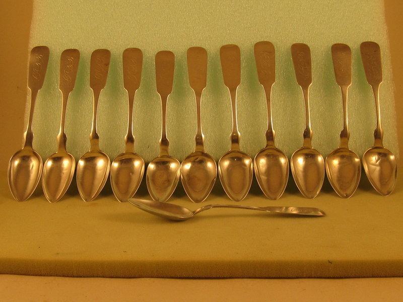 12 teaspoons by John Westervelt, Newburgh, NY, circa 1850