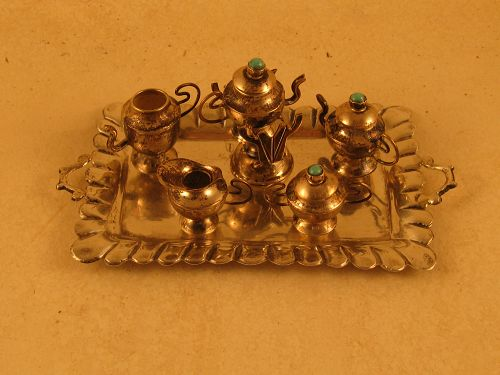 Miniature coffee and tea service, Mexican, marked STERLING and maker