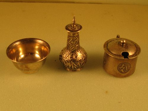 Chinese mustard pot, salt shaker, and bowl