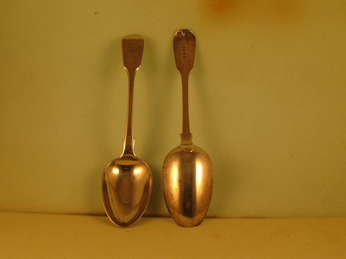 Pair of Chinese tablespoons by Sun Shing, mid-19th C.