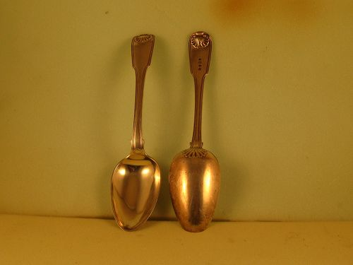 Pair of Chinese tablespoons markedmWC and 4 pseudohallmarks