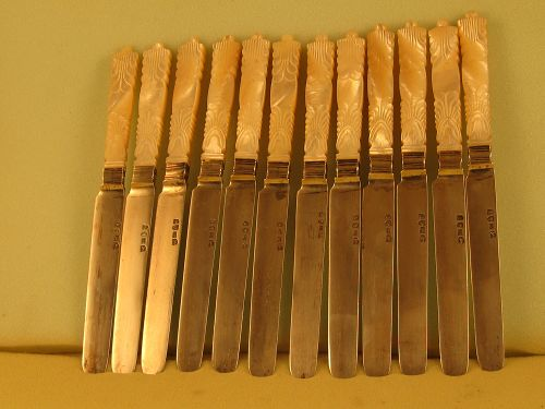 12 Chinese tea knives by Wongshing, 2nd qtr. 19th C.
