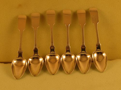 6 Teaspoons marked D.B. Miller, Boston, c. 1840's