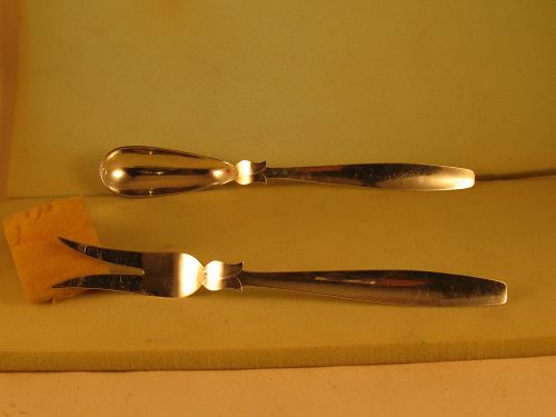 Salad serving set marked ZACHO HANDMADE STERLING,c.1960,L.A.