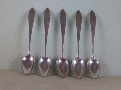 5 Teaspoons by Jonathan Bliss; Middletown, CT, circa 1810