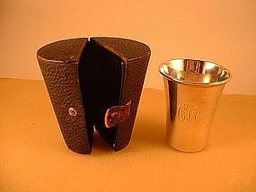 Small beaker (julep cup) in original leather case.