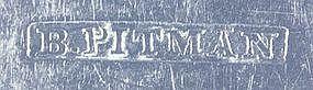 Six teaspoons by B. Pitman; New Bedford, MA; c.1840's