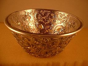 Chinese pierced bowl with clear glass liner by Ing Wo