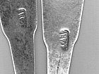 Pair of teaspoons by EW(?), circa 1815