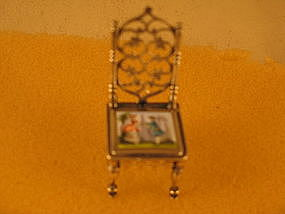 Miniature chair, enameled seat