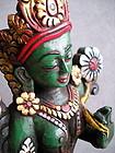 Green Tara Tibetan Buddhist Bodhi Wood Statue - Nepal